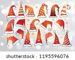 set of doodle christmas hats on ... | Shutterstock .eps vector #1195596076