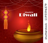 decorated diya on happy diwali... | Shutterstock .eps vector #1195596379