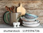 composition with dishware and... | Shutterstock . vector #1195596736