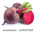 red beets or beetroots on white ... | Shutterstock . vector #1195597369