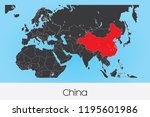 an illustrated country shape of ... | Shutterstock .eps vector #1195601986