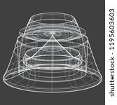 a wireframe shape on a grey... | Shutterstock .eps vector #1195603603