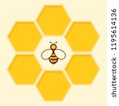 vector bee and honeycomb icon... | Shutterstock .eps vector #1195614136