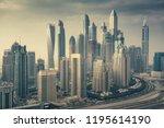 aerial daytime skyline of dubai ... | Shutterstock . vector #1195614190