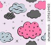 hand drawn cute seamless...   Shutterstock .eps vector #1195614403