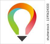 light bulb and pencil logo...   Shutterstock .eps vector #1195624333