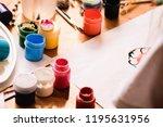 paints  brushes  gouache ... | Shutterstock . vector #1195631956