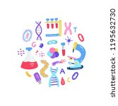 hand drawn genome sequencing... | Shutterstock .eps vector #1195632730