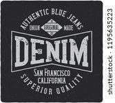 denim vintage label logo with... | Shutterstock .eps vector #1195635223