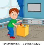 boy toddler picking up his toy... | Shutterstock .eps vector #1195643329