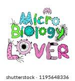 microbiology lover poster.... | Shutterstock .eps vector #1195648336