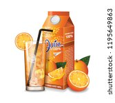 orange juice box package and... | Shutterstock .eps vector #1195649863