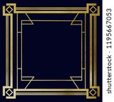 art deco gold frame on navy... | Shutterstock . vector #1195667053