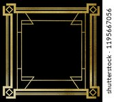 art deco gold frame on black... | Shutterstock . vector #1195667056