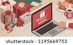 hi tech santa sending gifts... | Shutterstock .eps vector #1195669753
