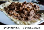shawarma beef turkish or arabic ... | Shutterstock . vector #1195673536