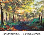 Colorful Forest With Trees In...