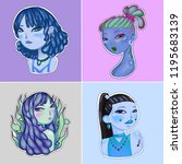 set with 4 freaky girls with... | Shutterstock . vector #1195683139