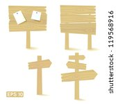 set of light wooden signs and... | Shutterstock .eps vector #119568916