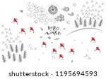 hand drawn winter holidays card ... | Shutterstock .eps vector #1195694593