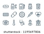 medical and hospital line icons....   Shutterstock .eps vector #1195697806