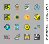 disk icon set. vector set about ... | Shutterstock .eps vector #1195701976