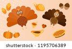 thanksgiving miscellaneous ... | Shutterstock .eps vector #1195706389