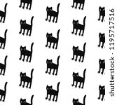 black cats seamless pattern... | Shutterstock .eps vector #1195717516