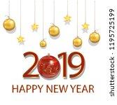 new year 2019 beautiful... | Shutterstock .eps vector #1195725199