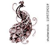 beautiful peacock vector   Shutterstock .eps vector #1195729219