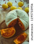 pumpkin  pumpkin slices and... | Shutterstock . vector #1195733956