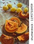 pumpkin  pumpkin slices and... | Shutterstock . vector #1195733959
