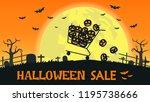 halloween sale banner with...   Shutterstock .eps vector #1195738666