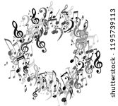 wreath of musical symbols.... | Shutterstock .eps vector #1195739113