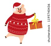 pig in winter sweater and...   Shutterstock .eps vector #1195740436