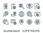 globe and world wide line icons....   Shutterstock .eps vector #1195743193