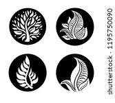 vector set of leafs design... | Shutterstock .eps vector #1195750090