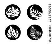 vector set of leafs design... | Shutterstock .eps vector #1195750093