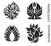 vector set of leafs design... | Shutterstock .eps vector #1195750096
