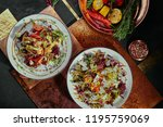salad with pomegranate  corn ... | Shutterstock . vector #1195759069