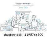 video conference   modern line... | Shutterstock .eps vector #1195766500