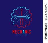 mechanic logo icon  wrench and... | Shutterstock .eps vector #1195766893