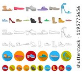 a variety of shoes cartoon... | Shutterstock .eps vector #1195775656