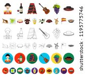 spain country cartoon icons in... | Shutterstock .eps vector #1195775746