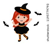 adorable little witch dancing... | Shutterstock .eps vector #1195779793