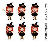 adorable little witch character ... | Shutterstock .eps vector #1195779796
