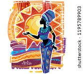 african woman in ethnic dress | Shutterstock .eps vector #1195789903