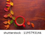 red cup of coffee and colorful... | Shutterstock . vector #1195793146
