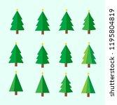 christmas tree set | Shutterstock .eps vector #1195804819