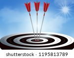 red three arrows darts in... | Shutterstock .eps vector #1195813789